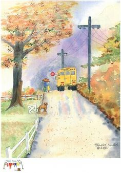 Parent and child on rainy school day about to board the school bus as their puppy watches from the gate. Autumn Cozy, Autumn Art, School Bus Driver, School Buses, School Days, Activities For 1 Year Olds, Fall Images, Just For Today, Wheels On The Bus