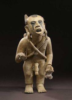 Artist: Anonymous (Remojadas) Title: Xipe Totec Impersonator Date: AD (Late Classic) Medium: earthenware, black paint Dimensions: Height: cm in). Maya, Ancient History, Art History, Colombian Art, Ancient Greek Sculpture, Aztec Culture, Aztec Warrior, Masks Art, Wow Art