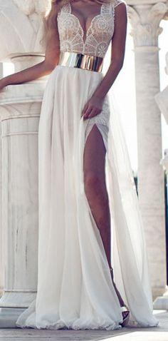 Trend Floor Length V Neck Embroidered Long Evening Dress with High Slit
