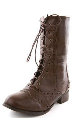 Break3 Oxford Laced Mid Calf Boots BROWN