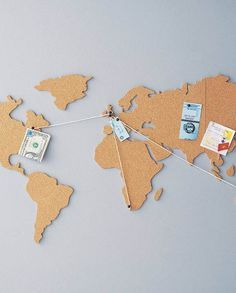 Luckies Cork Map Noticeboard // Treat that globetrotter to a fun way to show off his travels with this fun cork map noticeboard. Simply pin your souvenirs, tickets and photos onto each country and watch your own personalised world come to life.
