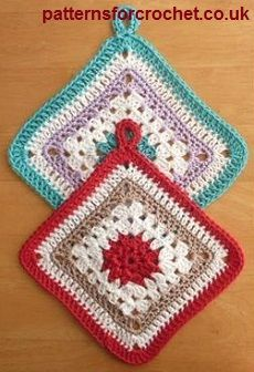 Potholder free crochet pattern from http://www.patternsforcrochet.co.uk/cotton-pot-holder-usa.html #freecrochetpatterns #patternsforcrochet