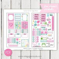 Free Printable Bright Floral Planner Stickers from Vintage Glam Studio