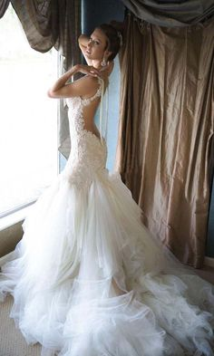 24 gorgeous dresses with train, love the open back mermaid style