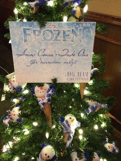 Frozen Christmas Party:  Sugar-cone snowman take-home ornament as a party favor.