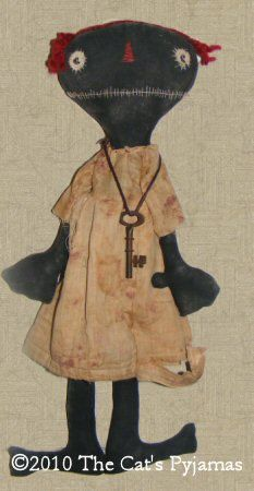 Primitive Folk Art Jolene Black Doll 1243 by TheCatsPyjamas, $10.00