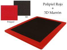 Base Tapizada Polipiel Rojo + 3D Marrón
