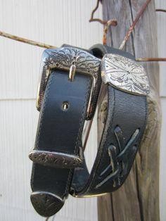 90s Navy Southwestern Concho Leather Belt, 75-33 cm / 29-33 in // Vintage Cowgirl Belt