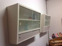 Two Retro Vintage 1950 S 60 Shabby Chic Kitchen Wall Cupboards