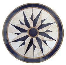 Floor medallion marble mosaic nautical compass travertine tile 30 Medallion US