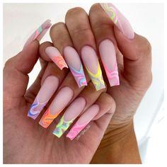 Stylish Nails, Trendy Nails, Cute Nails, Acrylic Nails Pastel, Pink Nails, Garra, Glow Nails, Nail Games, Nail Inspo