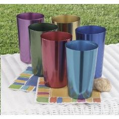 My great-aunt Carrie had a set of these anodized aluminum tumblers. For some reason, a cold drink always tasted better served in them.