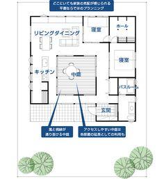 平屋モデルプラン002 中庭のある平屋 | 平屋の街をつくる。