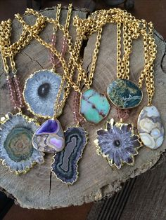 Gold edged stone necklaces geode