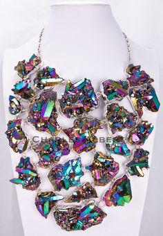 Style# LBUN13: Titanium Treated Quartz Necklace set in sterling silver. Retail $3,900