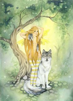 The Wolf's Fairy - Fairy Art Watercolor Print - 8.5x11 - fantasy. fairy tale. animal. woodland. tree. fine art. wolf. yellow. green.. $20.00, via Etsy.