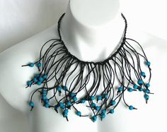 teal and black fringe necklace paper jewelry by frankideas