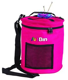 #happy This lightweight tote holds up to eight #standard sized skeins of #yarn. Yarn in use can easily be removed from tote through lid. Textured PVC base keeps c...