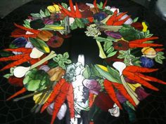 stained glass vegetable patterns | Vegetable Table
