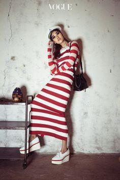 Vogue Korea 2016 - stripes - red and white - nautical - fashion