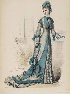 The Fashion Monitor, 1876 - Victorian Era, Victorian Fashion, Vintage Fashion, Historical Costume, Historical Clothing, Gravure Illustration, 1870s Fashion, Jean Délavé, Fashion Illustration Vintage