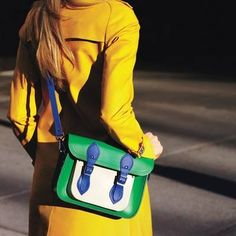 yellow blazer - The Cambridge Satchel Company bag Star Fashion, Fashion Beauty, Fashion Looks, Womens Fashion, Cambridge Satchel, Colorful Fashion, Spring Fashion, Glamour, My Style
