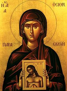 Holy Martyress Paraskeva (Piatnitsa; 3rd cent Iconeum) came from a rich, pious family and was named after Friday, the day of Christ's Passion. She took a vow of celibacy and wanted to spread the faith. Pagans delivered her to the governor. Refusing to sacrifice to pagan gods, she was bound to a tree and torn with iron nails. God healed her lacerated body. She was tortured again and finally beheaded. Prayers to her heal people and animals such as cattle. She is celebrated Oct 28.