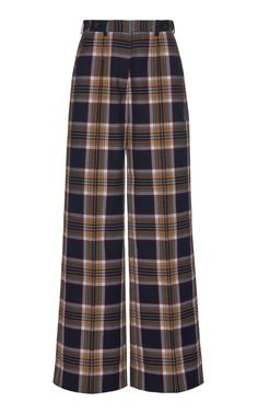Rokh Plaid Crepe Wide-leg Pants In Navy Kpop Fashion, Korean Fashion, Fashion Outfits, Cool Outfits, Casual Outfits, Moda Vintage, Office Outfits, Mode Style, Aesthetic Clothes