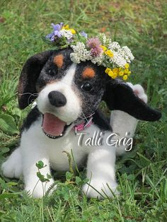 Needle felted Beagle puppy dog by Talli Grig.