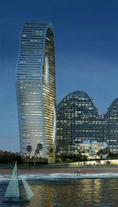 Fake Hills Point Tower, Beihai, China by MAD architects :: 55 floors, height 194m