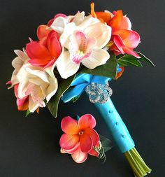 Sunset Beach Tropical Bridal Bouquet with real by BlueLilyBridal, $165.00