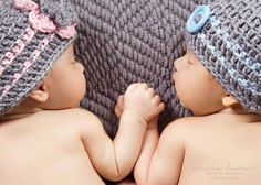Twin Baby Girl Boy Hats in Grey Pink and by BabyCrochetCouture. $40.00, via Etsy.