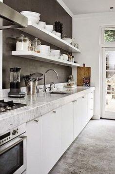 açık raflar & İskandinav stili mutfak tasarımı