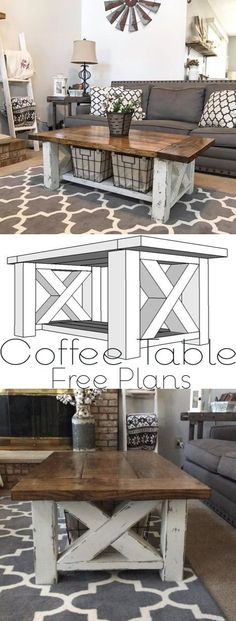 Farmhouse Coffee Table DIY for the Home Living Room - Woodworking Plans