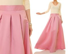 Rose Pink Maxi Skirt Satin Maxi Skirt Matte by Tailored2Modesty
