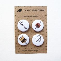craft badges (set of four) - Folksy kate Broughton
