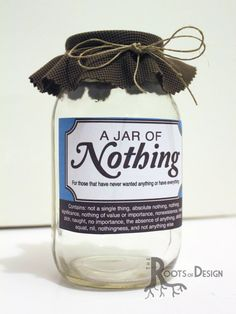 JAR OF NOTHING printable- Great gag gift or perfect for the Holidays, Christmas, Birthdays, and more