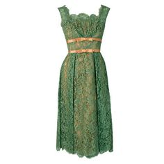 1950's Ceil Chapman Sage-Green Lace Scalloped Shelf-Bust Cocktail Dress