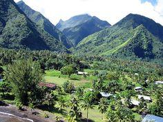 village of Teahupo'o, Tahiti-iti, French Polynesia Tahiti, France, French Polynesia, Mountains, Travel, Cities, World, Viajes, Destinations