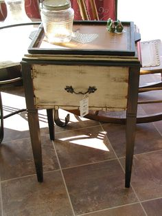 Restoring my sewing machine cabinet! Table Furniture, Painted Furniture, Vintage Sewing Table, Sewing Cabinet, Primitive Furniture, Trash To Treasure, Drafting Desk, French Country, Repurposed
