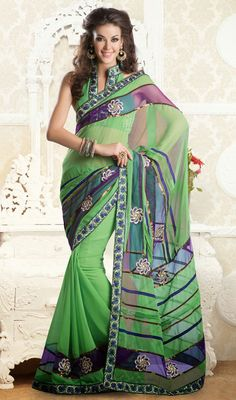 Pale Green Shade Cotton and Net Saree Price: Usa Dollar $84, British UK Pound 50£, Euro62, Canada CA$91 , Indian Rs4536.