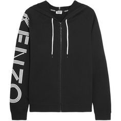 KENZO Printed cotton-jersey hooded top (€270) ❤ liked on Polyvore featuring tops, hoodies, black, light weight hoodies, sleeve top, logo hoodies, zipper hoodies and graphic tops