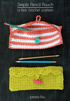 This post was originally shared by Persia Lou on Craftaholics Anonymous.  I've got a perfect little back to school crochet project for y'all today: a cutie cute little pencil pouch! … Crochet Pencil Case, Crochet Pouch, Crochet Purses, Crochet Gifts, Cute Crochet, Crochet Yarn, Crochet Stitches, Crochet Hooks, Crochet Patterns