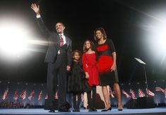 http://www.revelist.com/influencers/sasha-and-malia-obama-style/1013/YES WE CAN! Curls, tights, and red and black at Obama's victory rally in Chicago after his election win in 2008./4