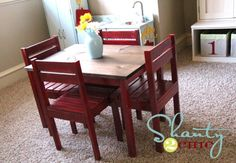 DIY kid size table and chairs for a playroom--so cute! She spent about $30 for all the materials to build it herself. Plans from Ana White. Adorable!