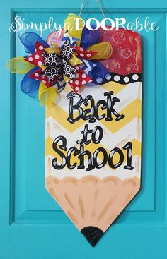 Pencil Wood Door Hanger   Back To School