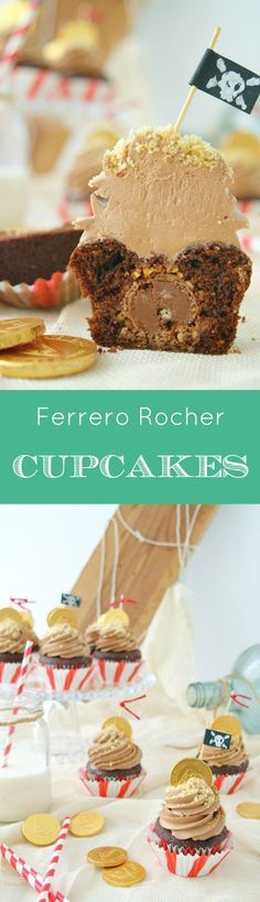 Ferrero Rocher Chocolate cupcakes and a pirate party - Englsih recipe included - Cupcakes de chocolate y Ferrero Rocher para la fiesta pirata de Una Galleta, un cuento.
