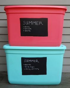 Duh! Chalkboard paint on the tubs, instead of peeling off stickers every season.