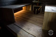 """Modern sauna project with darker benches. Benches have natural """"live edge"""". This sauna is modern version of original Finnish smoke sauna. Modern Saunas, Finnish Sauna, Joinery, Hardwood Floors, Solid Wood, Woodworking, Interior Design, Benches, Projects"""