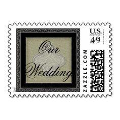 Vintage Quatrefoil Lace and Burlap Our Wedding Stamps